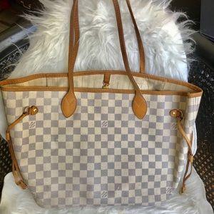 Authentic Louis Vuitton Neverfull MM Azur white